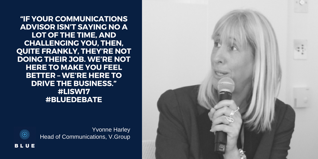 Yvonne Harley, V.Group, discussed the power of brand in shipping at the BLUE debate 2017