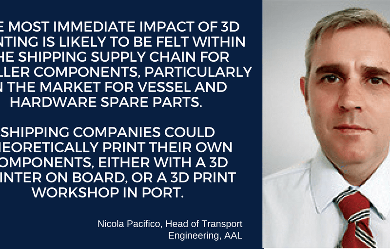 Nicola Pacifico, head of transport engineering at AAL discusses 3D Printing in shipping